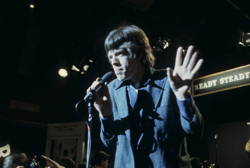 Mick Jagger of the Rolling Stones, performing on Ready Steady Go