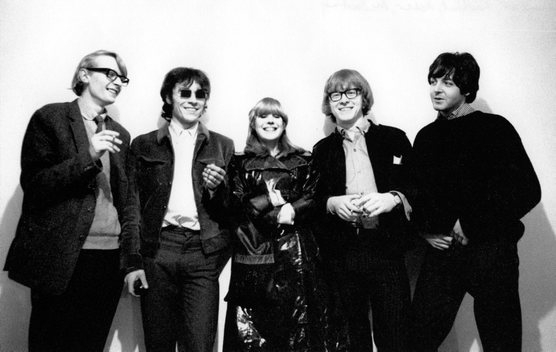 Indica Gallery, 6 Mason's Yard (off Duke Street), St James's, London, England - LtoR Barry Miles, John Dunbar, Marianne Faithfull, Peter Asher and Paul McCartney. November 1966 Graham Keen / TopFoto