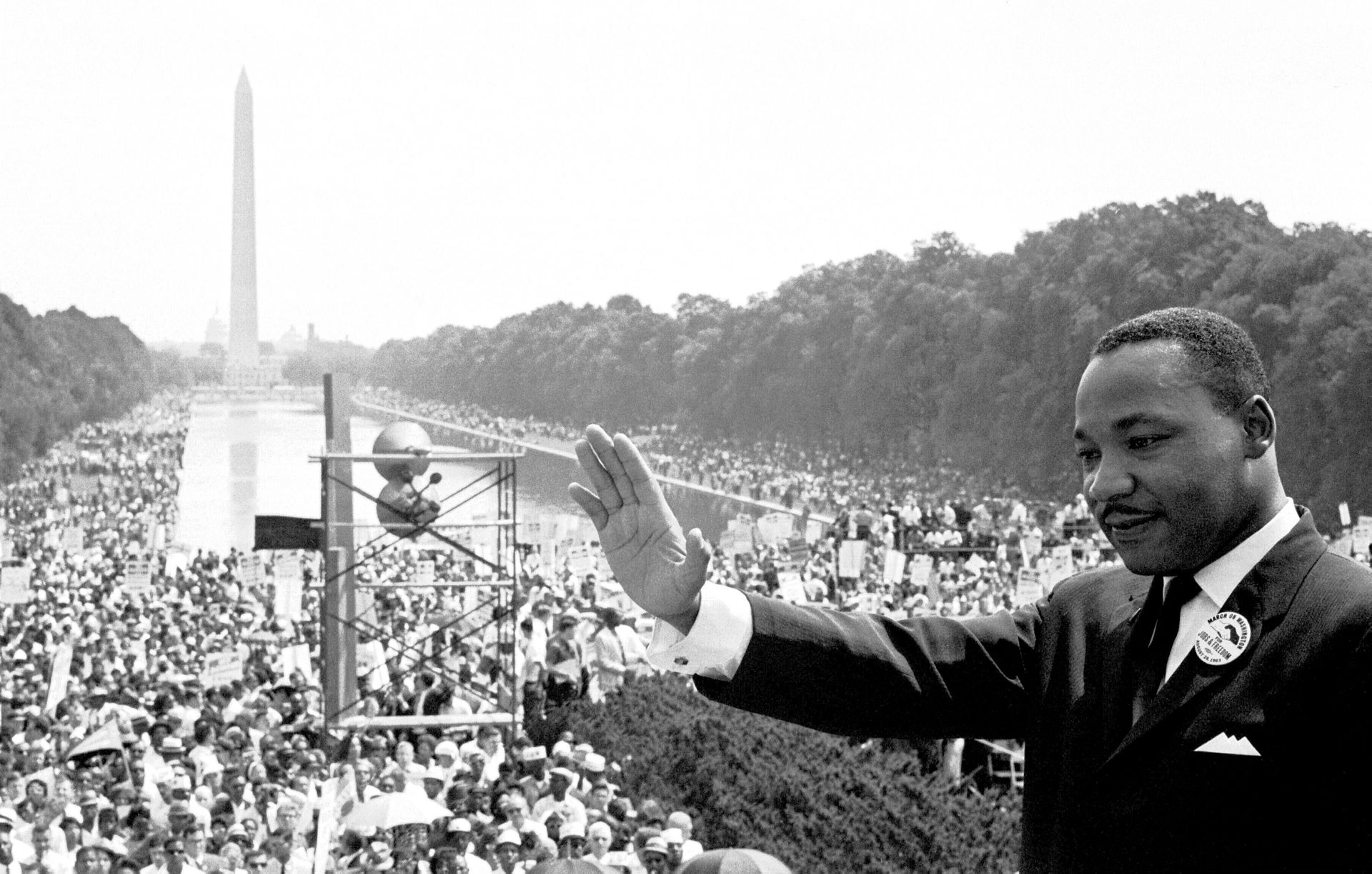 Civil Rights March Leader Washington DC Leader of the huge Civil Rights March in Washington August 28th Doctor Martin Luther King is shown on the steps of the Lincoln Memorial during the massive demonstration Crowds are gathering in front of the memorial to hear speeches by the March on Washington leaders, in background is the Washington monument. 28th August 1963