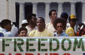A 1983 demonstration for racial equality and freedom in Washington, DC. Photo by Mark Godfrey
