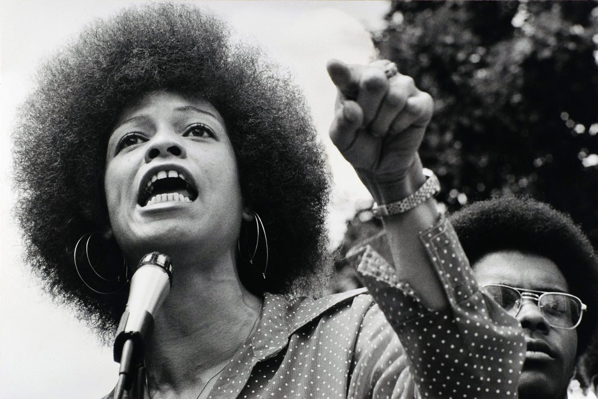 Raleigh, North Carolina, July 4, 1974: Angela Davis speaking in Raleigh. They were protesting the death penalty with the National Alliance against Racism and Repression.